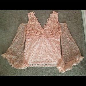 NWOT Venus long sleeve crochet blouse